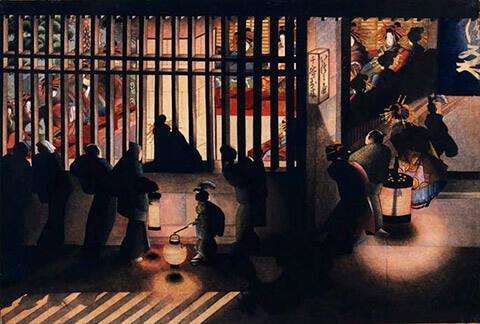 西洋画の技を使って描かれた、葛飾応為「吉原格子先之図」(太田記念美術館蔵)