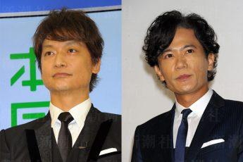 サントリーの新CMに起用された香取慎吾(左)と稲垣吾郎(右)