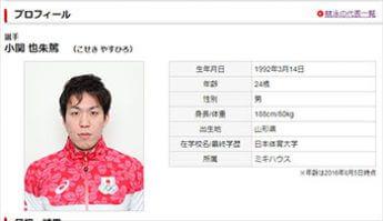 小関也朱篤(JOC公式HPより)